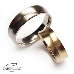 Dames ring e034w 04mm en Herenring e035g 6mm Cardillac-Trouwringen