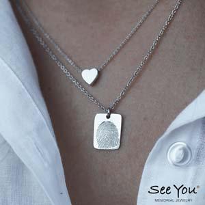 414S rechthoek hanger en 701S heart hanger zilver