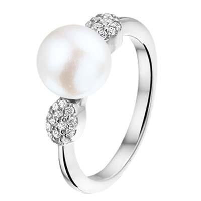 013-22606K Ring Zilver met parel en zirkonia