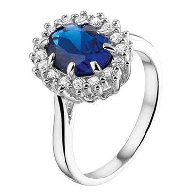 013-26196K Ring Zilver met zirkonia en saffier
