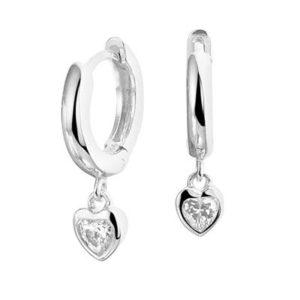 013-28278K Creolen zilver met zirkonia Hartjes