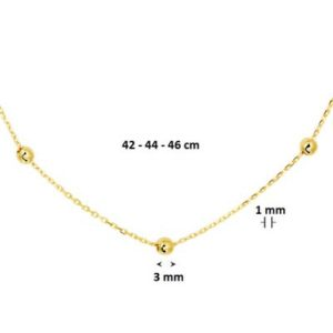 040-19284K Collier bolletjes GG 1.0 mm