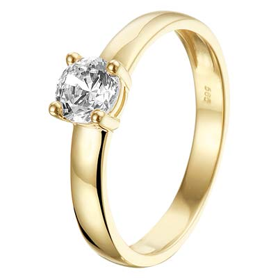 040-20229K Ring Geelgoud Zirkonia