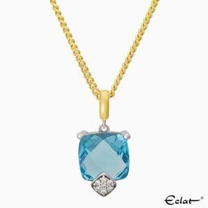 H2019-9 Eclat Hanger met diamant en topaas
