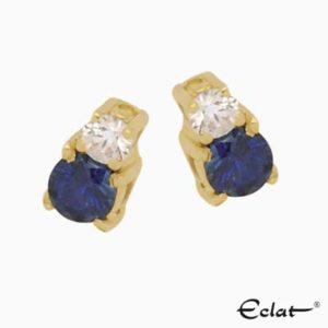 OK1520 Eclat Oorknoppen met diamant en saffier