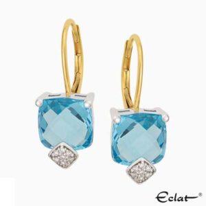 O2019-9 Eclat Oorknoppen met diamant en topaas