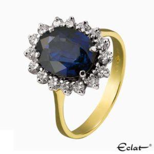 R124 Eclat ring met saffier & diamanten
