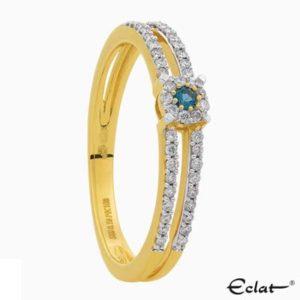 R2019-52 Eclat Ring met diamant en topaas