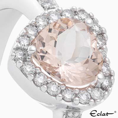 R2019-53 Eclat Ring met diamant en morganiet