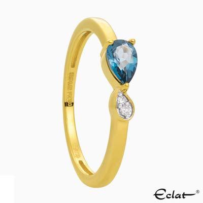 R2019-6 Eclat Ring met diamant en topaas