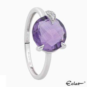 R2019-7 Eclat Ring met diamant en amethist