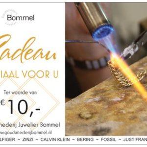 Cadeaubon 10 euro Goudsmederij Bommel
