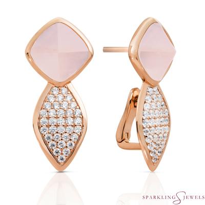 EAR06-G13 Sparkling Jewels Rozenkwarts