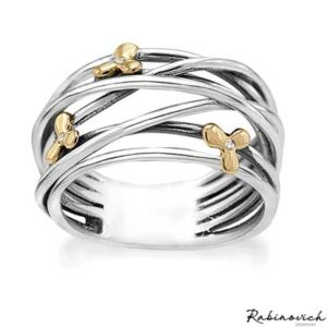 74003800 Rabinovich Ring Golden Flowers
