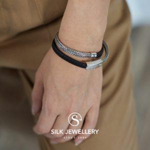 344BLK Silk armband